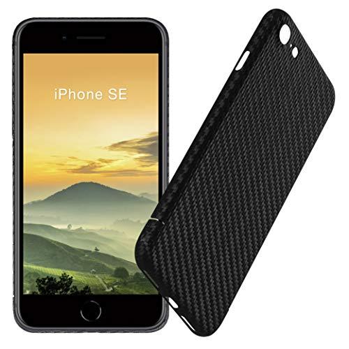 VIVERSIS echte Carbon Hülle für Apple iPhone SE 2020, matt schwarz, ultradünn, leicht, robust, kabelloses Laden, Premium Qualität - Made in Germany