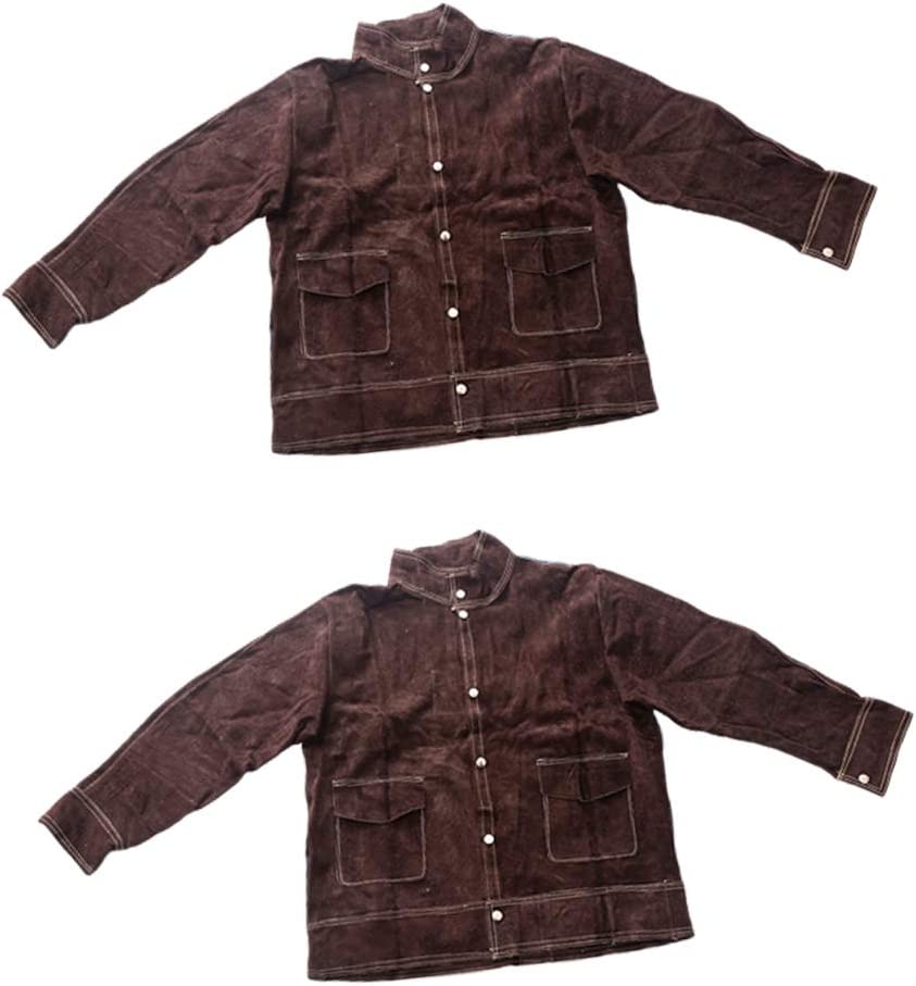 sold out Almencla 2x Resistant Cowhide Long Beach Mall Anti-scald Welding Jacket Leather