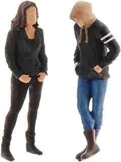 perfeclan 2 x 1/64 1/64 miniatyr män figur små HO människor figurer mänsklig figur tillbehör