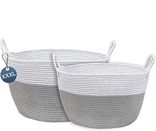 Set of 2 Laundry Basket Cotton Rope Basket Woven Storage With Handles Laundry Basket/Washing Basket For Bathroom Toys Shoes Storage Blankets Bathroom Towels Cushions Living Room Laundry Hamper