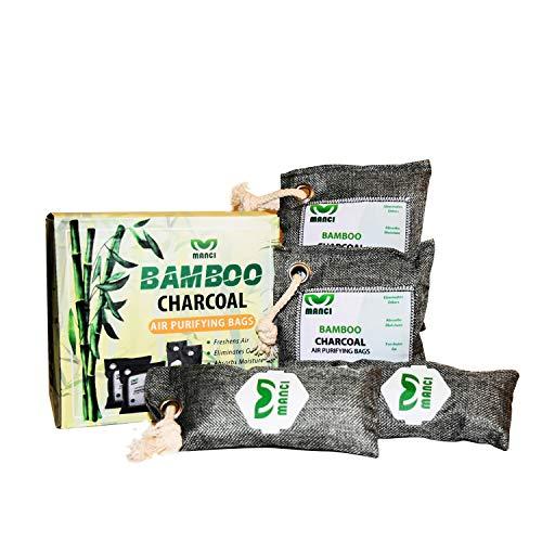 MANCI Bamboo Charcoal Air Purifier Bags (4 Pack) Natural Odor Moisture Absorber, Freshener, Deodorizer for Home, Car, Closet, Shoes, Basement, RV, Pet Friendly, Reusable, 2x75g, 2x200g Gray