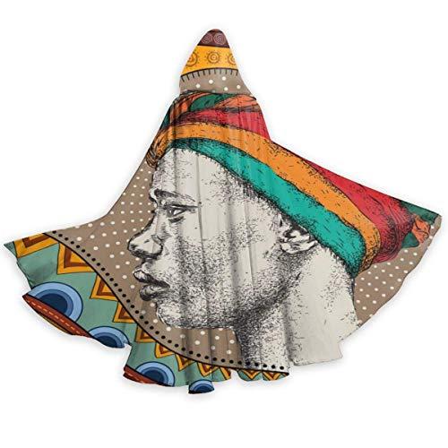 Chica en Turbante con Dibujo a Mano Africano Patrn tnico Capa para Adultos Disfraz de Cosplay de Halloween Capa Larga Neutral Capa 59 Pulgadas Capa Larga