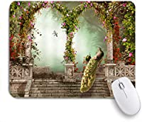 ZOMOY マウスパッド 個性的 おしゃれ 柔軟 かわいい ゴム製裏面 ゲーミングマウスパッド PC ノートパソコン オフィス用 デスクマット 滑り止め 耐久性が良い おもしろいパターン (孔雀ファンタジーガーデンアーチ型のドアカラフルな花)
