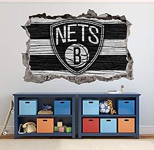 Basketball Brooklyn Team Wall Decals Art 3D Smashed Custom Fan Nets Wall Decor Bedroom Garage Removable Vinyl Wall Stickers Gift WL182