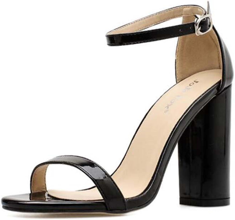 Pump 10cm Chunkly Heel Ankle Strap Sandals Dress shoes Women Pure color Open Toe D'Orsay Belt Buckle OL Casual Court shoes Roma shoes EU Size 34-40