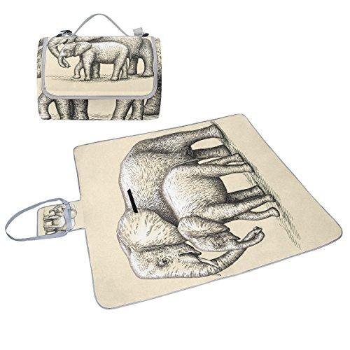 COOSUN Elefant Mutter und Baby Picknickdecke Handlich Mehltau resistent und wasserfest Camping Matte für Picknicks, Strände, Wandern, Reisen, Rving und Ausflüge