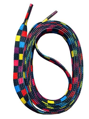 SNORS bedruckte Schnürsenkel SCHACH 140cm, 10mm, Schuhbänder mit Motiv, reißfest, waschbar, Muster Flachsenkel Made in Germany