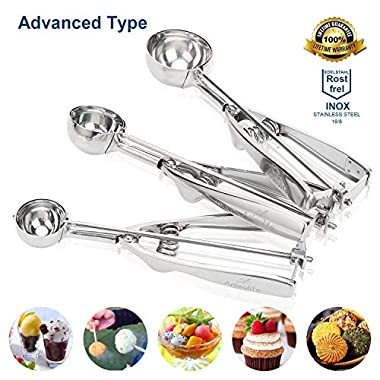 Anleolife Stainless 18/8 Ice Cream Scoops Cookies Scoopers Melon Baller Cupcake Top Maker Set of 3, for Candy Dough Batter, LIFETIME Guarantee