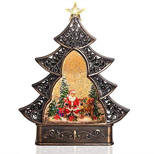Melunar Christmas Snow Globe Lantern with Swirling Water Glittering Snowglobe Triangular Christmas Tree Xmas Lantern for Christmas Home Decoration and Gift