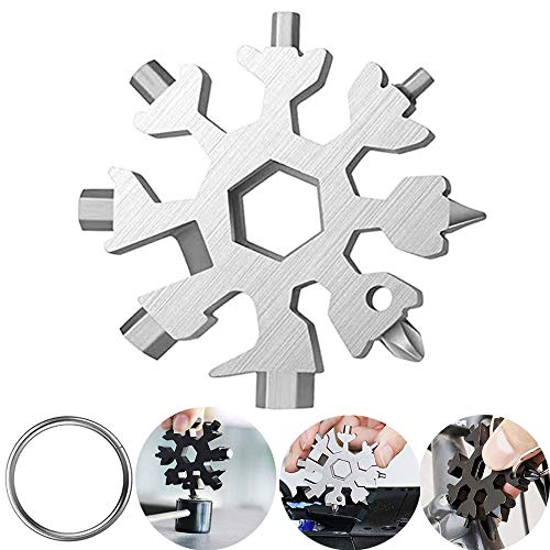 18-in-1 Snowflake Multi tool, Stainless Steel Snow Multitools Bottle Opener-Screwdriver-Wrench, Cool Gadgets.(Silver)