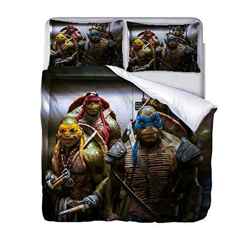 Ropa De Cama con Funda Nórdica De Microfibra Y 2 Fundas De Almohada -Tortugas Ninjas Mutantes Adolescentes-155X220Cm