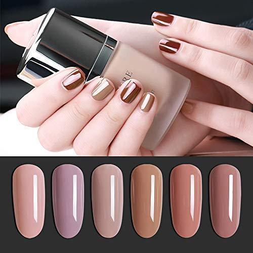 Vishine Nail Gel Polish Soak Off UV Gel Polish Nude Series 6 Colors Nail Art Gel Varnish for Salon Home DIY 8ml