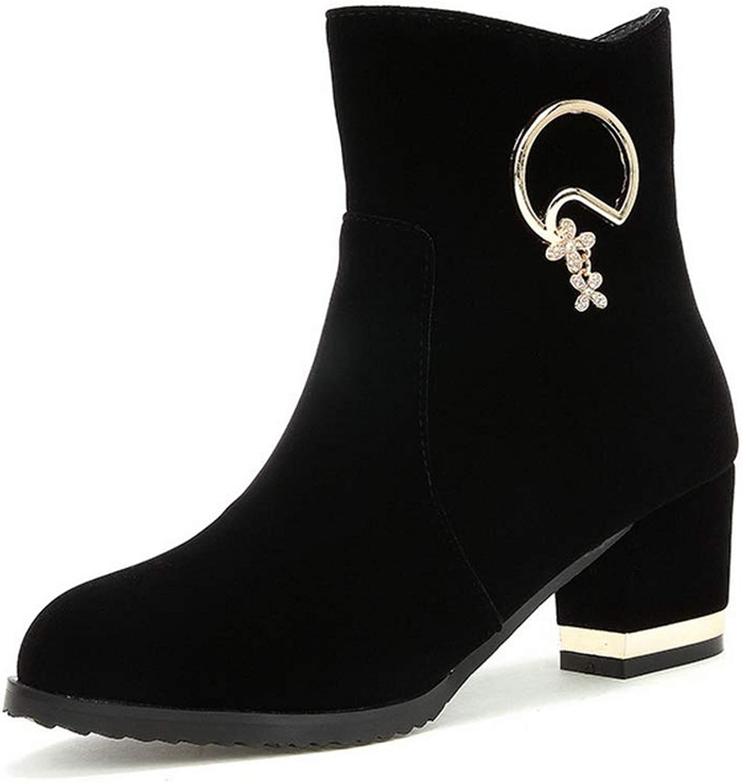 AdeeSu Womens Square Heels Chunky Heels Metal Buckles Imitated Suede Boots SXC03340