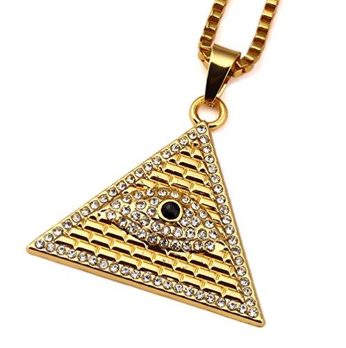 Gudeke Los diamantes de los hombres chapados en oro Ojo de Horus Egipto Pirámide collar 23.6