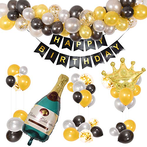 87 PCS Birthday Party Decorations with Free Air Pump - Happy Birthday Decorations with Gold Metallic Happy Birthday Banner, Champagne and Crown Foil Balloons, Black Gold Silver and Confetti Balloons