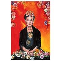 印刷とポスター、フリーダ・カーロ現代花ヴィンテージ水彩肖像ホームウォールアート装飾画像、フレームレスの絵画花キャンバスに囲まれたキャンバス,50×70cm