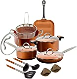 Copper Pan 10-Piece Luxury Induction Cookware Set Non-Stick, 21.5 x 11.5 x 11 inches