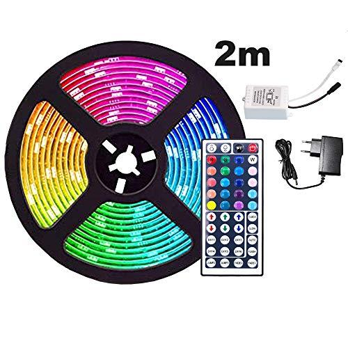 TolleTour LED Strip 2M RGB LED Streifen 120 LEDs Band mit 44 Tasten Fernbedienung IP65 Wasserdicht Leiste SMD 5050, Farbwechsel, Selbstklebend Lichterkette Kit
