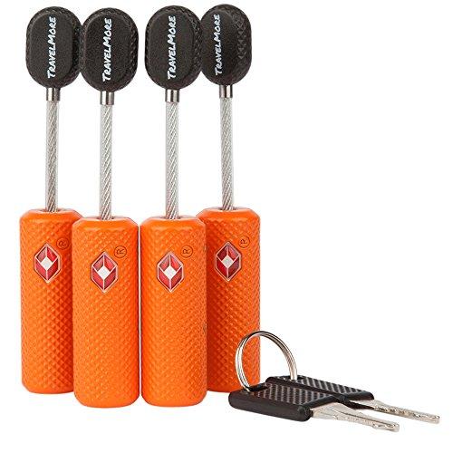 Paquete De 4 Candados Para Equipaje De Llave Aprobado Por La Tsa – Candado De Mini-llave Ultra Seguro Y Flexible – Material De Aleación De Zinc (naranja)