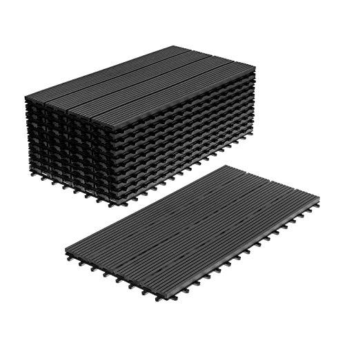 WPC Holz Kunststoff Fliesen Terrassenfliesen Klickfliesen Balkonfliesen 11 Stück = 2m² (30 x 60 cm, Anthrazit Standard)