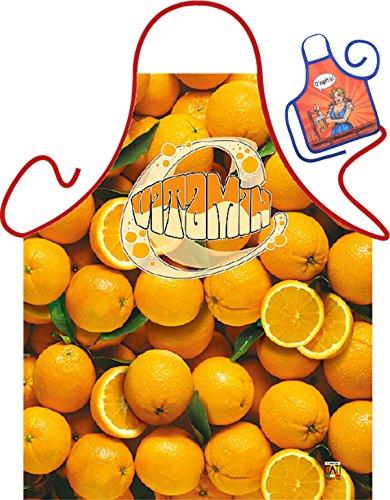 Orange – Fun Tablier humoristique pour fêtes et mini pour la bouteille