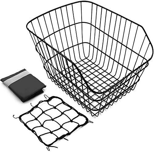 ANZOME fahrradkorb hinten, Groß Fahrrad Korb mit Regenschutz und Gepäcknetz, Einfach Installieren für Kleiner-Hund-Einkaufen-Picknick, 42 x 33 x 25 cm