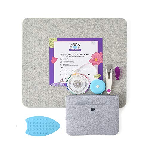 Rdutuok 13x14 Inches Wool Pressing Mat for Quilting Ironing Pad Easy Press Wooly Felted Iron Board Perfect for Quilters Retains Heat, Great for Quilting & Sewing Pressing Seams, Embroidery Crafts