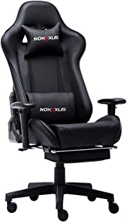 Nokaxus Gaming Chair Large Size High-back Ergonomic Racing Seat with Massager Lumbar Support and Retractible Footrest PU Leather 90-180 degree adjustment of backrest Thickening sponges (YK-6008-BLACK)