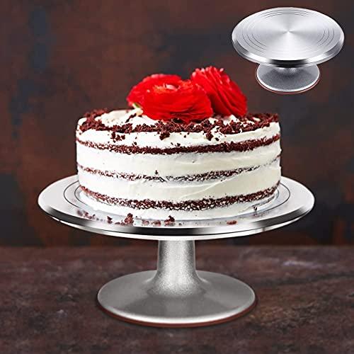 Tårtställ – Tårtfat i metall – slät snurrande kakplatta roterande glasyr – professionell bakelse dekor redskap, 23 35 cm rund, lätt att rengöra, blir smidigt