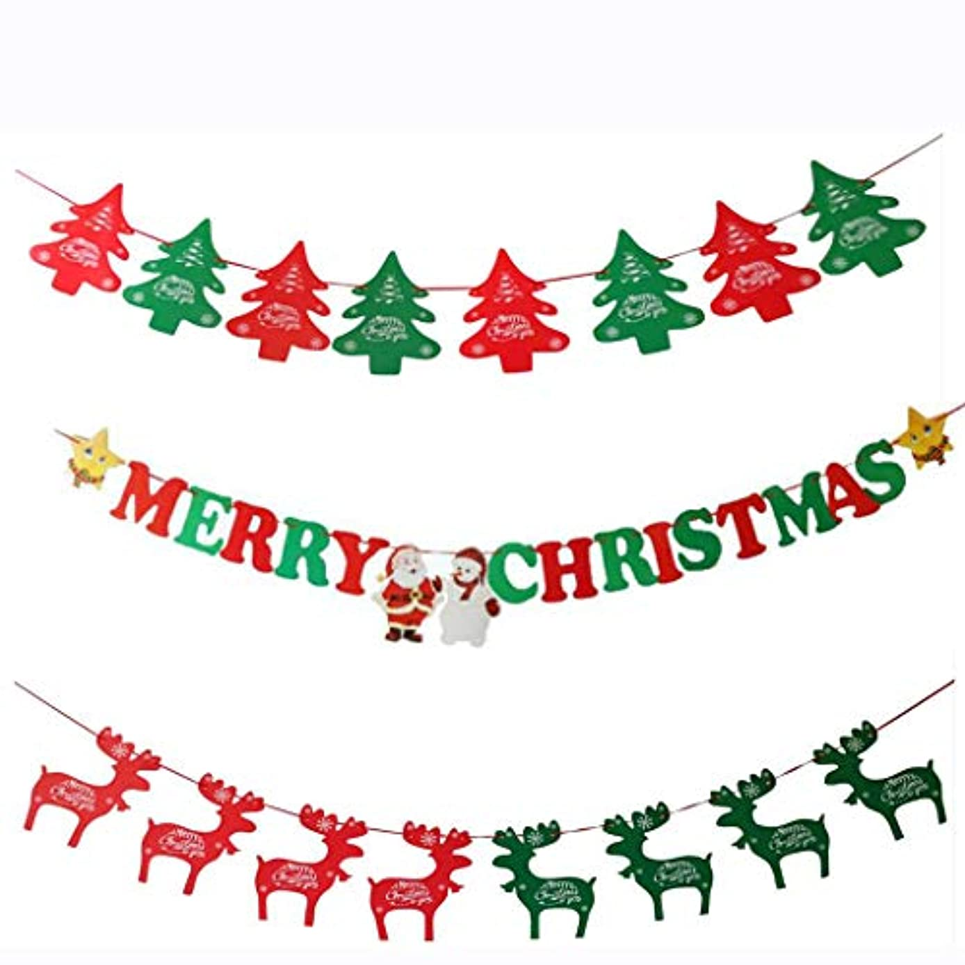 Merry Christmas Banner Chrismas Party Decorations Clearance Xmas Tree Deer Pennant Banners