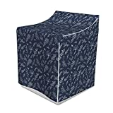Lunarable Feather Washer Cover, Rhythmic Natural Ornate Elements Pinnate Leaves Illustration, Waterproof Dustproof Decorative Fabric, 29' x 28' x 40', Dark Blue Grey and Off White