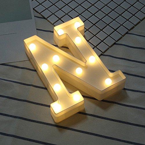 Alphabet LED Letter Lights Light Up White Plastic Letters Standing Hanging N