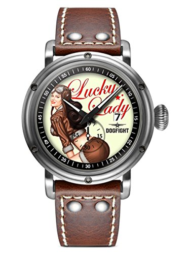 """Dogfight Pin-Up Series""""Lucky Lady"""" Leather Mens Watch DF0041"""