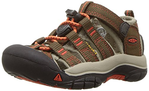 KEEN Big Kid (8-12 Years) Newport H2 Dark Earth/Spicy Orange Sandal - 5 M US Big Kid