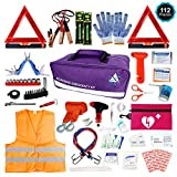 Roadside Emergency Car Kit – 112 Piece Safety Assistance | First Aid, Jumper Cables, Tow Strap Ropes, Reflective Safety Warning Triangle & Vest, Tools, Glass Breaker Hammer | Truck Car (Purple, Pink)