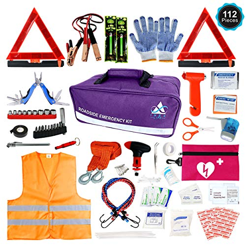 Roadside Emergency Car Kit – 112 Piece Safety Assistance   First Aid, Jumper Cables, Tow Strap Ropes, Reflective Safety Warning Triangle & Vest, Tools, Glass Breaker Hammer   Truck Car (Purple, Pink)