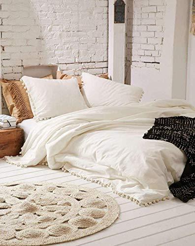 Jaipur tradicional bohemio recámara decoración blanco apagado Doona funda de edredón Queen Pom Pom Mandala colcha Hippie ropa de cama Boho colcha con 2 almohadas 2 cojines Set, Blancuzco, King Size 90x108 Inches