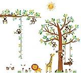 DECOWALL DA-1401P1402 Albero con 8 Scimmiette e Tabella di Altezza Adesivi da Parete Decorazioni Parete Stickers Murali Soggiorno Asilo Nido Camera da Letto per Bambini