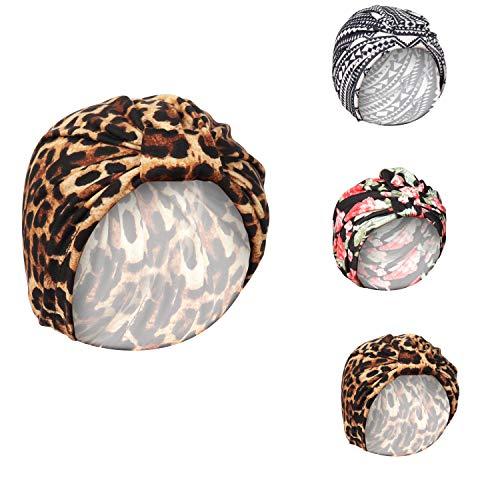 BELLE VOUS Turbantes para Mujer (Pack de 3) - Pañuelos para la Cabeza Estampado Floral Algodón Elástico - Beanie Diadema de Pañuelo con Nudo – Gorro Dormir a la Moda - Accesorios para el Pelo