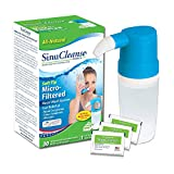 SinuCleanse Soft Tip Micro-Filtered Nasal Wash System - Includes 30 All-Natural, Pre-Mixed Buffered Saline Packets - Relieves Nasal Symptoms and Congestion due to Cold & Flu, Dry Air or Allergies