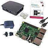 Foto Melopero Raspberry Pi 3 Official Starter Kit Black con Alimentatore Ufficiale, Case Ufficiale, Cavo HDMI, Dissipatori e MicroSD Ufficiale 16GB con Noobs
