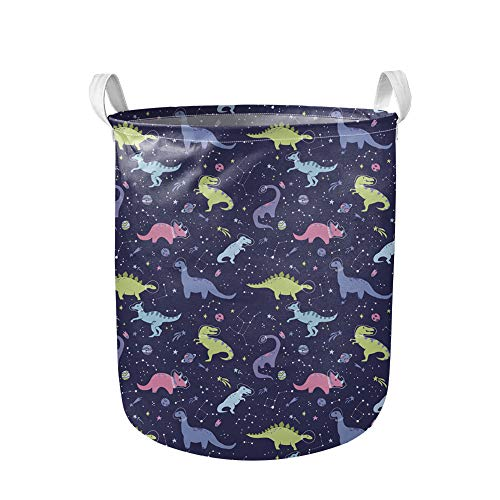 Binienty Cesta plegable para la colada con asa, colorido patrón de dinosaurios de dibujos animados, canasta de lavandería de lona, papelera de almacenamiento de ropa