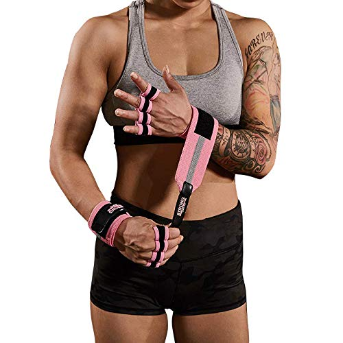 OHMY Strong Women Wrist Wrap Gloves: Stylish and Tough. Perfect for Pilates, Yoga, Cross Training, Strength Training. (Pink, Small/Medium)