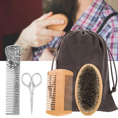 Barbe soins Set - barbe brosse peigne à Coiffeuse côtés double ciseaux Kit de réparation Modeling Nettoyages for homme