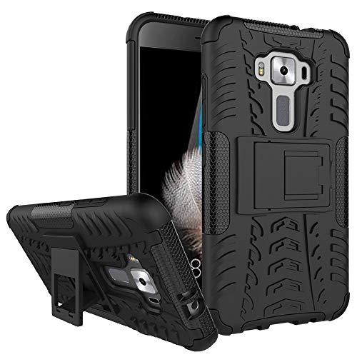 QiuKui For ASUS ZenFone 3 Lite, híbrido Heavy Duty Armadura de plástico Duro de la Cubierta del Soporte for ASUS ZenFone 3 Lite ZE520KL Z017D Z017DA Z017DB ZE ZE520 520 520KL KL (Color : Negro)