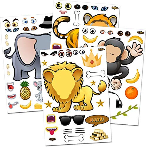 24 Make-A-Zoo Animal Sticker Sheets - Great Zoo And Safari Theme Birthday Party Favors - Fun Craft Project For Children 3+ Great Party Games For Toddlers - Let Your Kids DIY & Design Their Favorite Animal Stickers!!