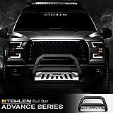 Stehlen 714937183285 Advance Series Bull Bar - Matte Black/Brush Aluminum Skid Plate For 2002-2009 Chevy Trailblazer/GMC Envoy