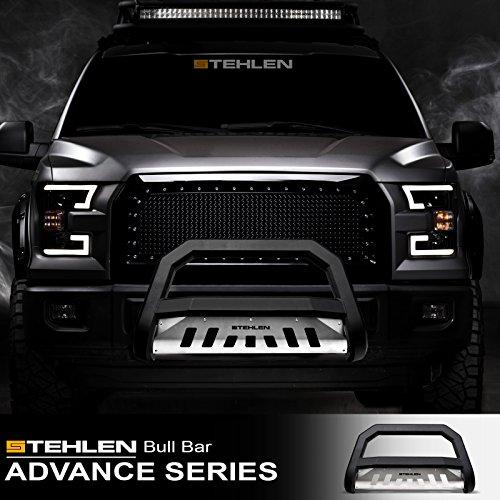 Stehlen 714937183483 Advance Series Bull Bar - Matte Black/Brush Aluminum Skid Plate For 2007-2014 Toyota FJ Cruiser