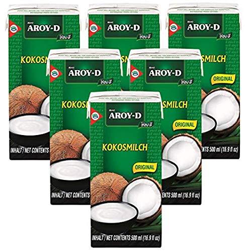 Paquete de 6 Leche de coco AROY-D con E435 [6x 500 ml] Leche de coco ~ Leche de coco