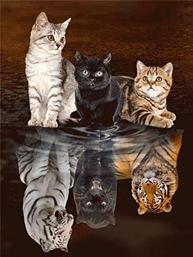 Puzzle 1000 piezas Regalo del arte de la reflexión del tigre del gato puzzle 1000 piezas clementoni Juegos familiares para adultos divertidos para niños Rompecabezas de juguet50x75cm(20x30inch)